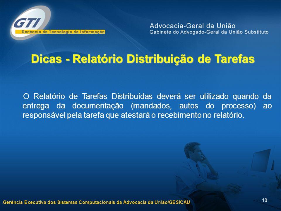 Dicas - Relatório Distribuição de Tarefas