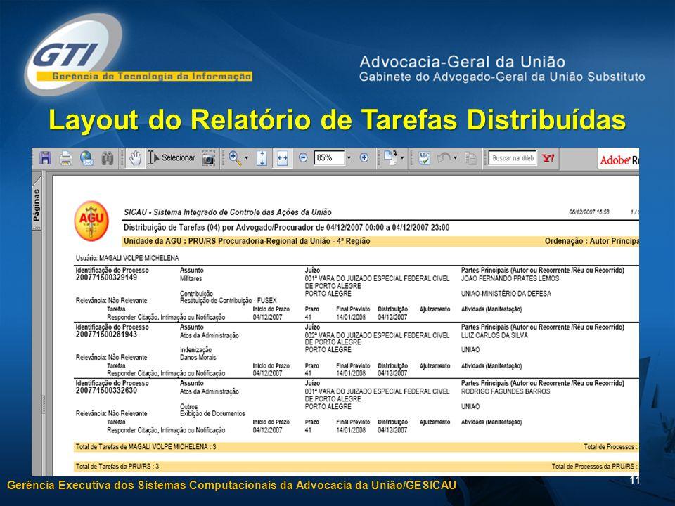 Layout do Relatório de Tarefas Distribuídas