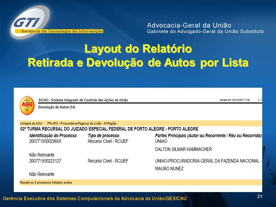 Layout do Relatório Retirada e Devolução de Autos por Lista