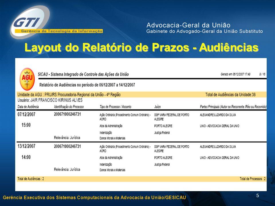 Layout do Relatório de Prazos - Audiências