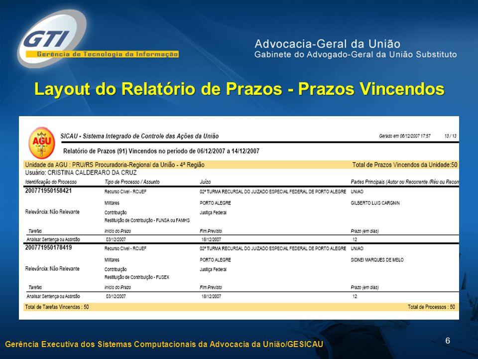 Layout do Relatório de Prazos - Prazos Vincendos