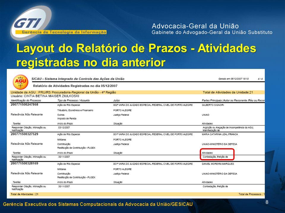 Layout do Relatório de Prazos - Atividades registradas no dia anterior