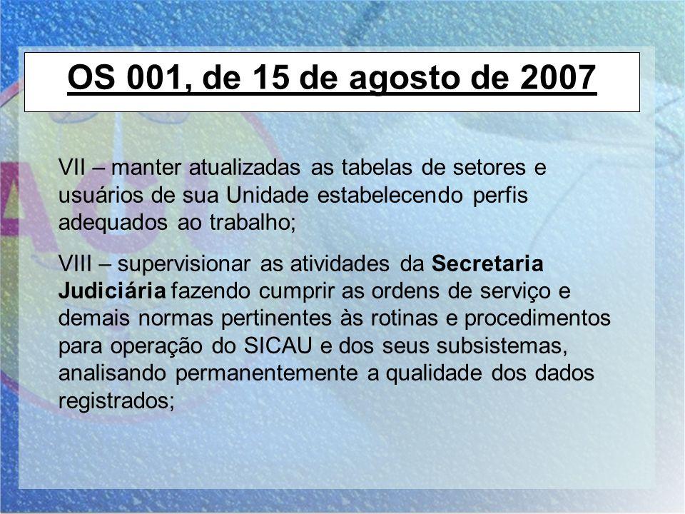 OS 001, de 15 de agosto de 2007 VII – manter atualizadas as tabelas de setores e usuários de sua Unidade estabelecendo perfis adequados ao trabalho;