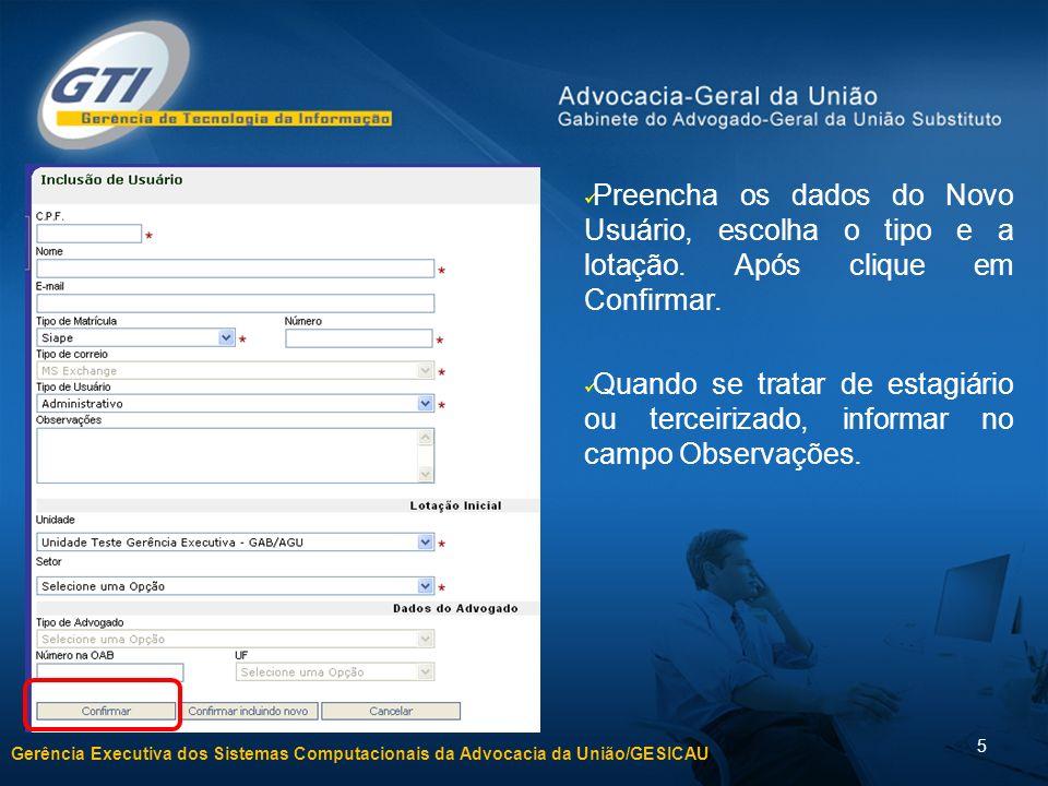 Preencha os dados do Novo Usuário, escolha o tipo e a lotação