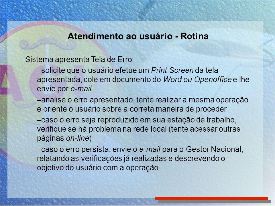 Atendimento ao usuário - Rotina