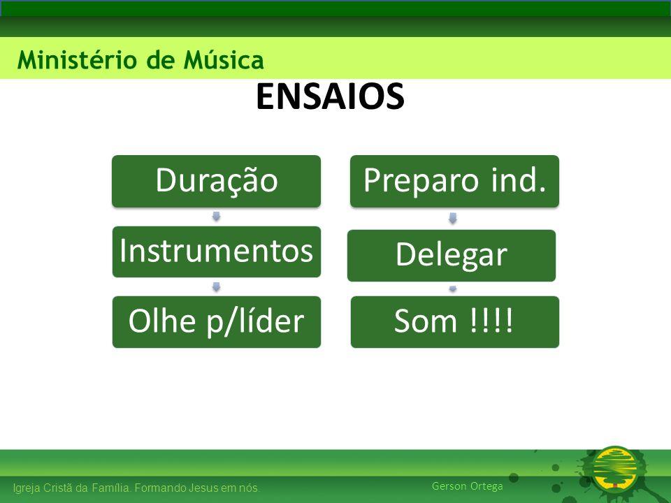 ENSAIOS Duração Preparo ind. Instrumentos Olhe p/líder Delegar