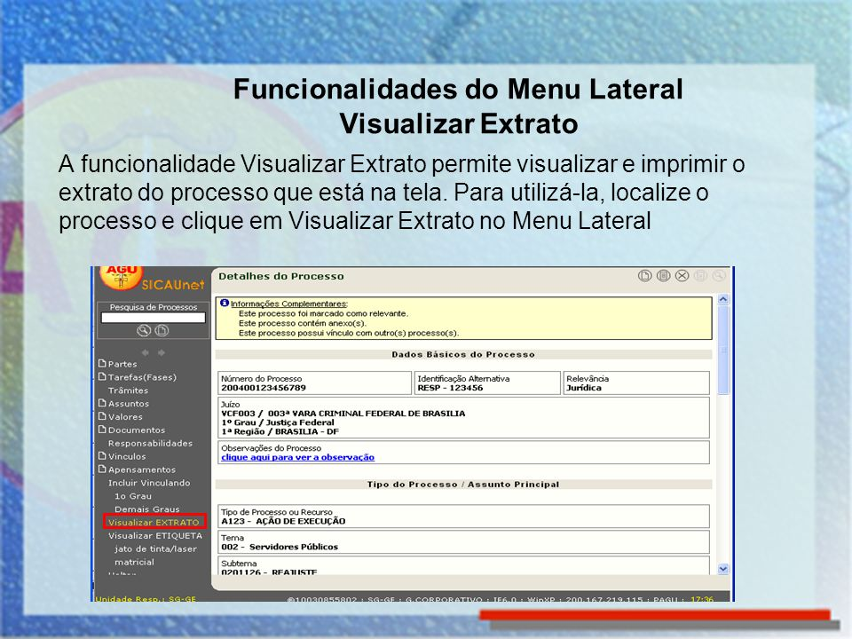 Funcionalidades do Menu Lateral Visualizar Extrato