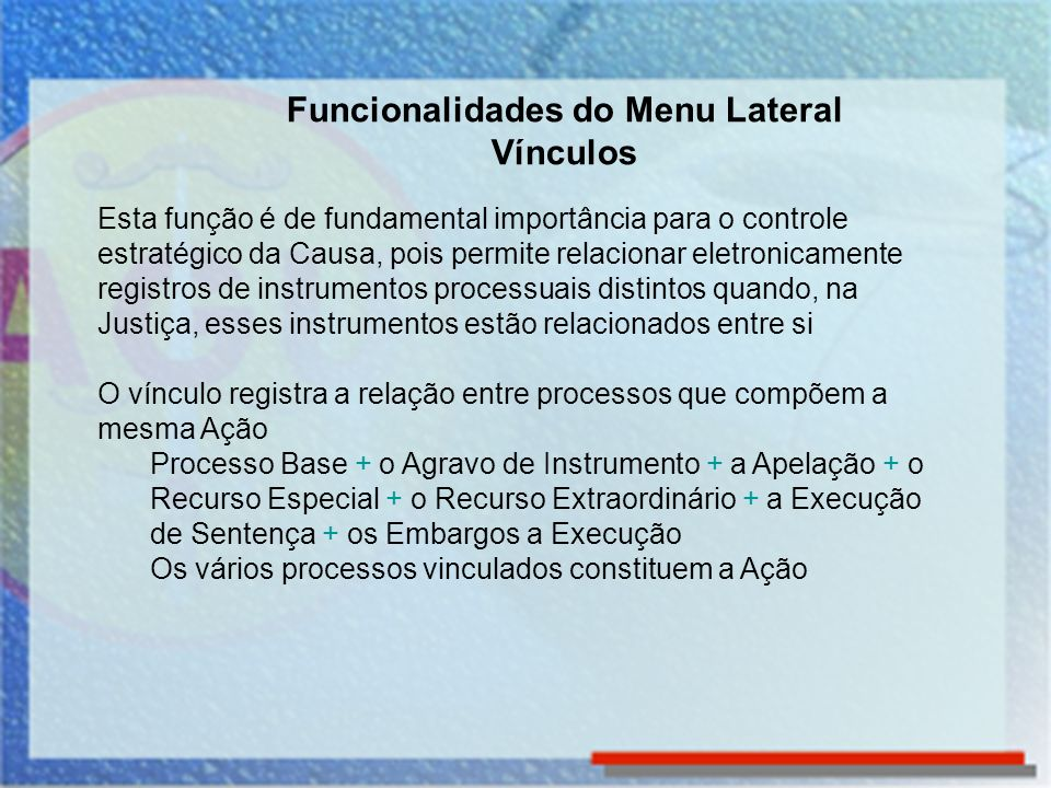 Funcionalidades do Menu Lateral Vínculos