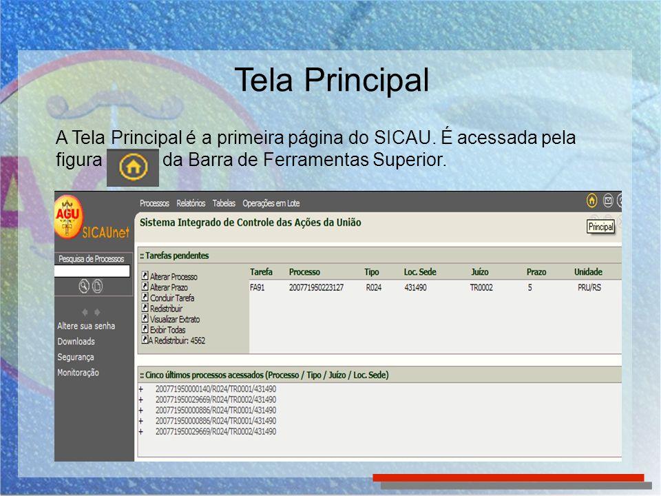Tela Principal A Tela Principal é a primeira página do SICAU.