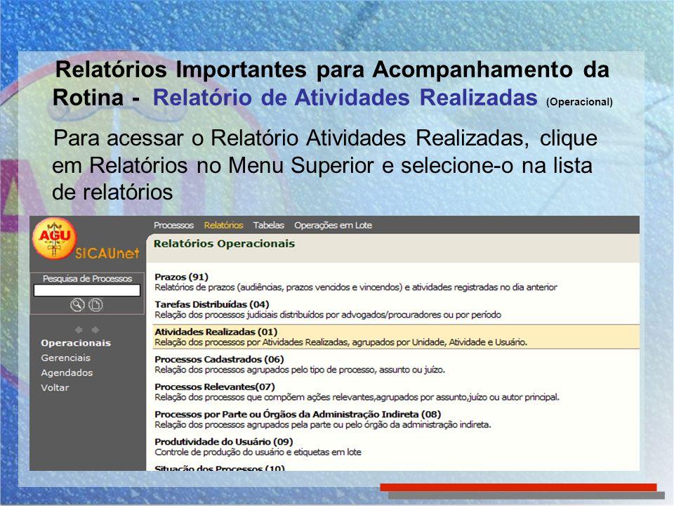 Relatórios Importantes para Acompanhamento da Rotina - Relatório de Atividades Realizadas (Operacional)