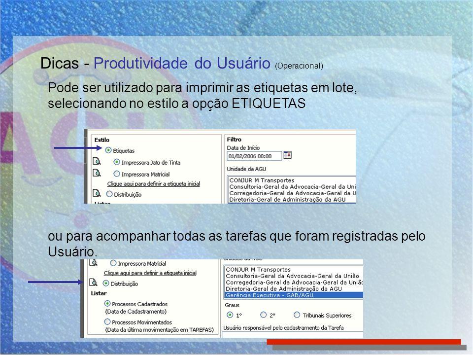 Dicas - Produtividade do Usuário (Operacional)