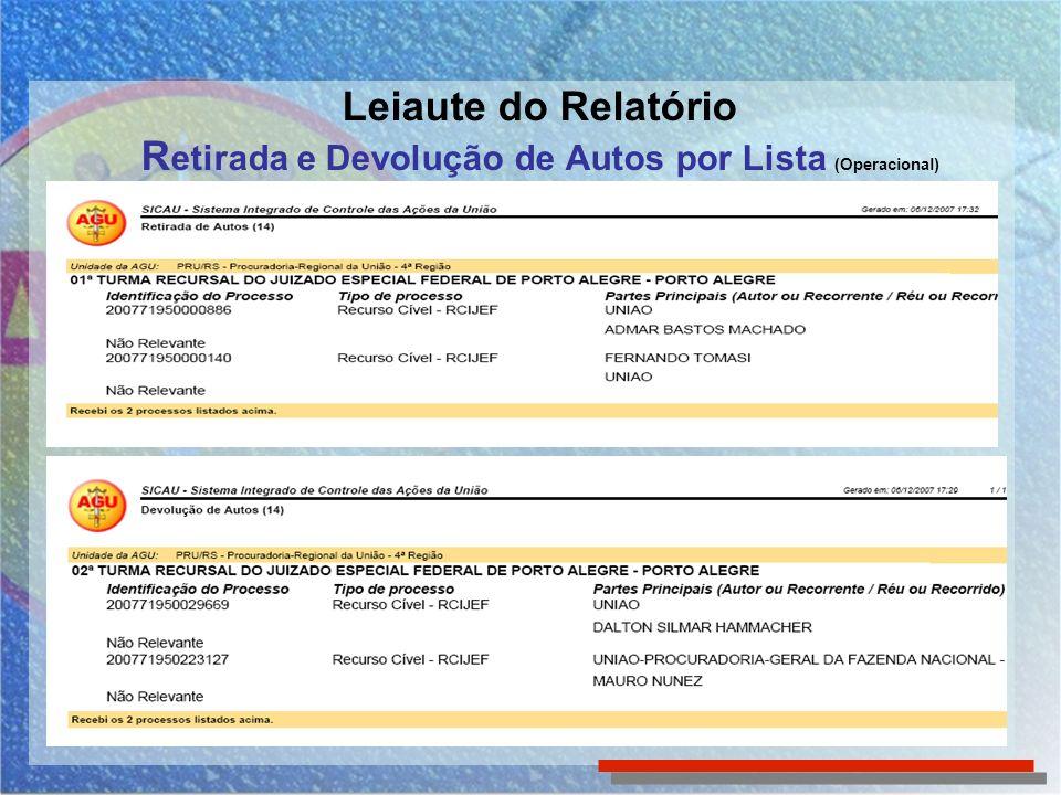 Leiaute do Relatório Retirada e Devolução de Autos por Lista (Operacional)
