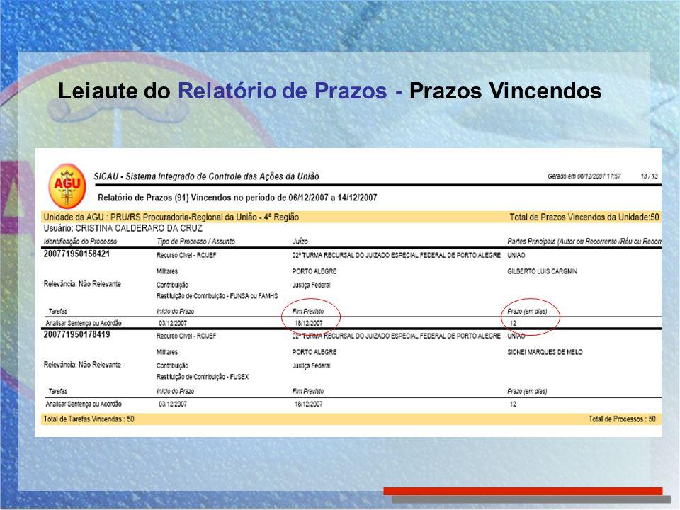 Leiaute do Relatório de Prazos - Prazos Vincendos