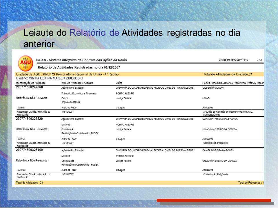 Leiaute do Relatório de Atividades registradas no dia anterior