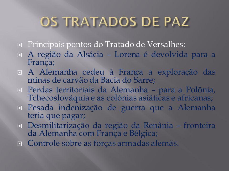 OS TRATADOS DE PAZ Principais pontos do Tratado de Versalhes: