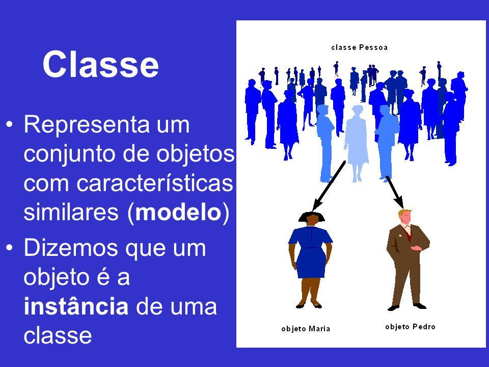 Classe Representa um conjunto de objetos com características similares (modelo) Dizemos que um objeto é a instância de uma classe.