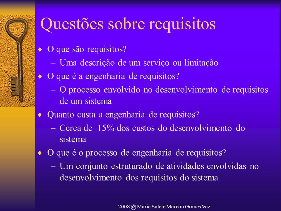 Questões sobre requisitos