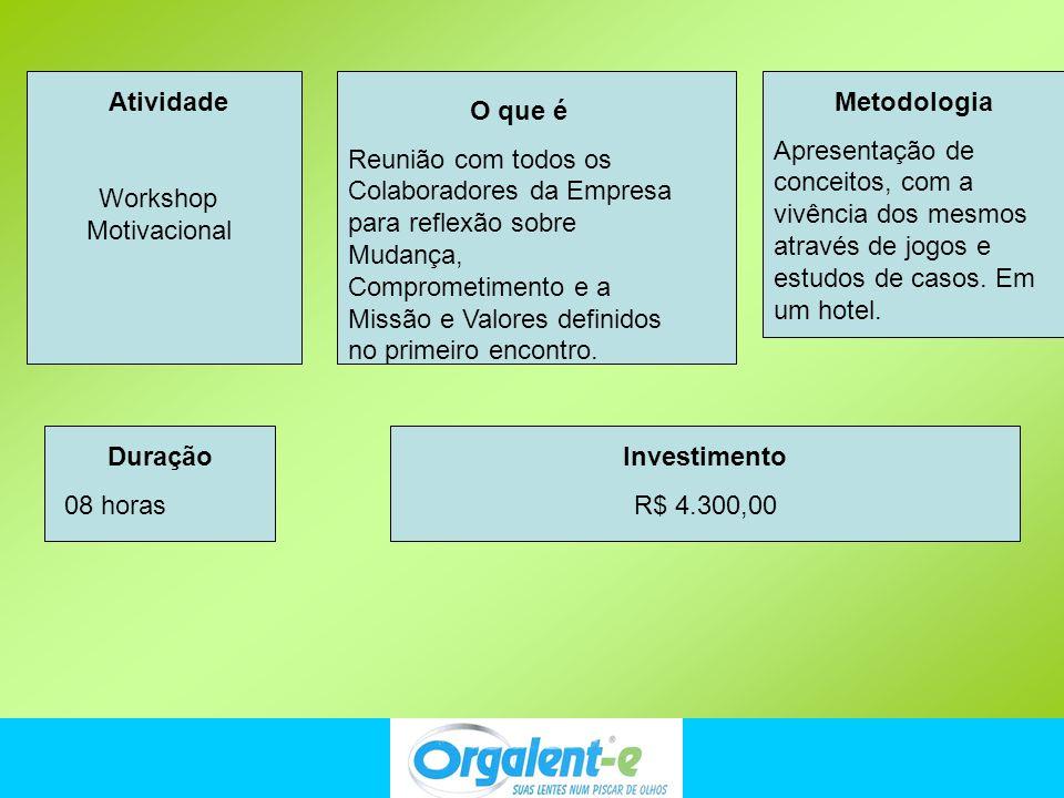 Atividade Workshop Motivacional. Metodologia.