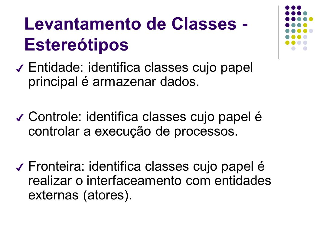 Levantamento de Classes - Estereótipos