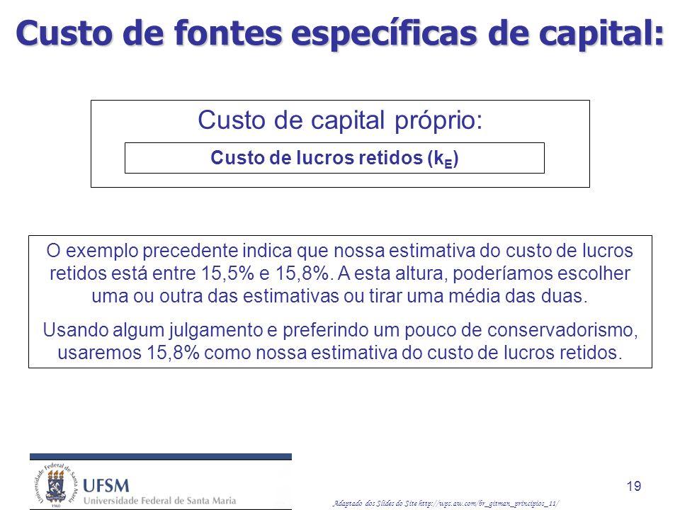 Custo de fontes específicas de capital: Custo de lucros retidos (kE)