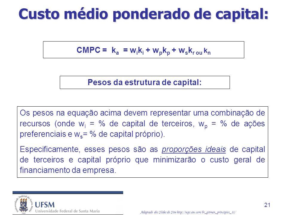 Custo médio ponderado de capital: