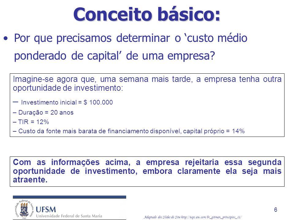 Conceito básico: Por que precisamos determinar o 'custo médio ponderado de capital' de uma empresa