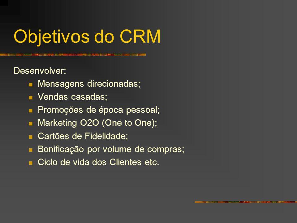 Objetivos do CRM Desenvolver: Mensagens direcionadas; Vendas casadas;