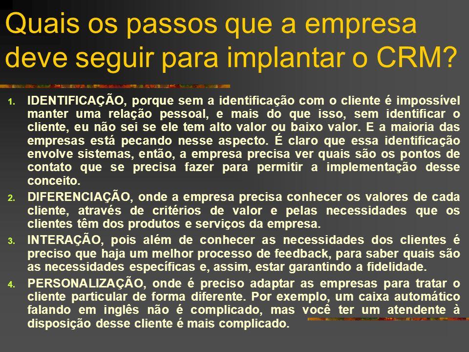 Quais os passos que a empresa deve seguir para implantar o CRM