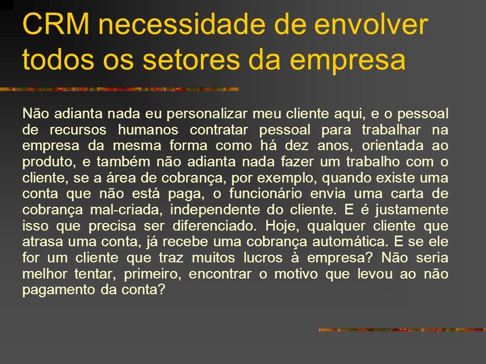CRM necessidade de envolver todos os setores da empresa