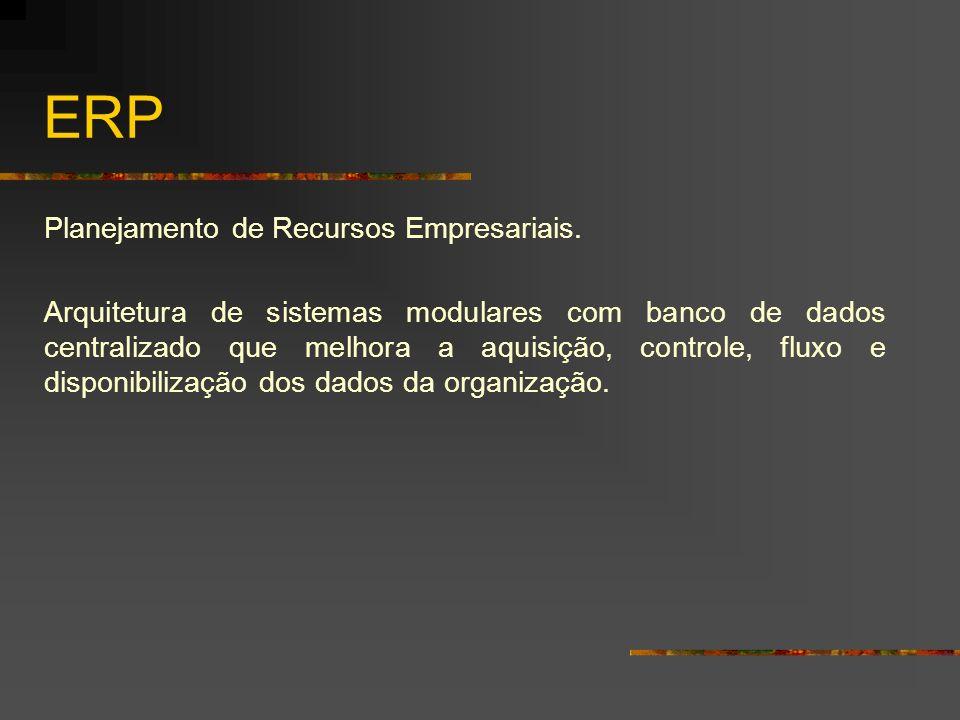 ERP Planejamento de Recursos Empresariais.