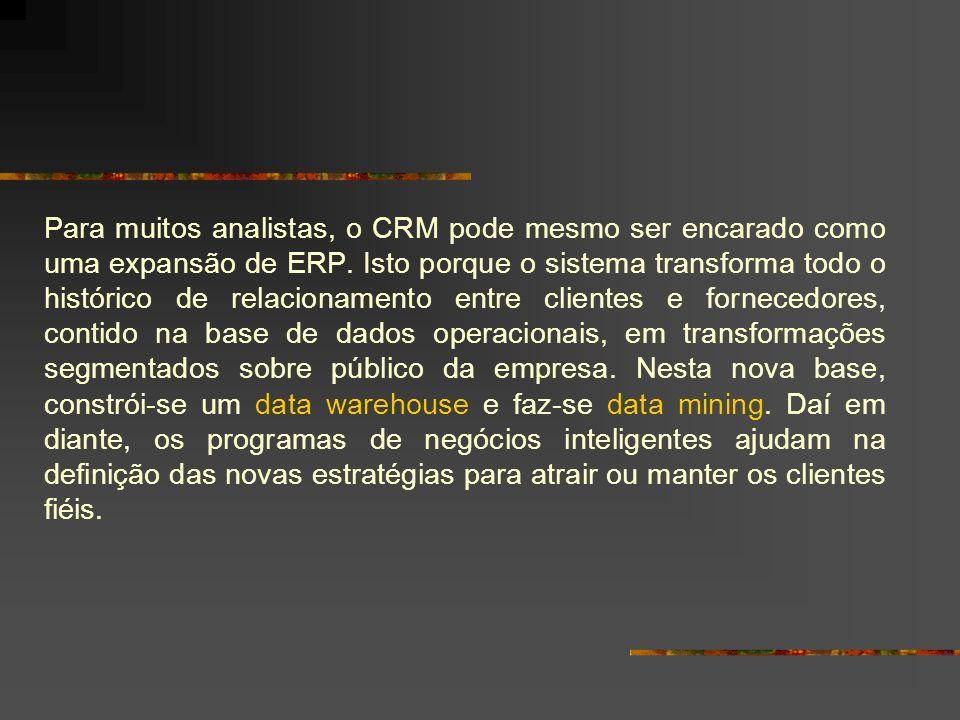 Para muitos analistas, o CRM pode mesmo ser encarado como uma expansão de ERP.