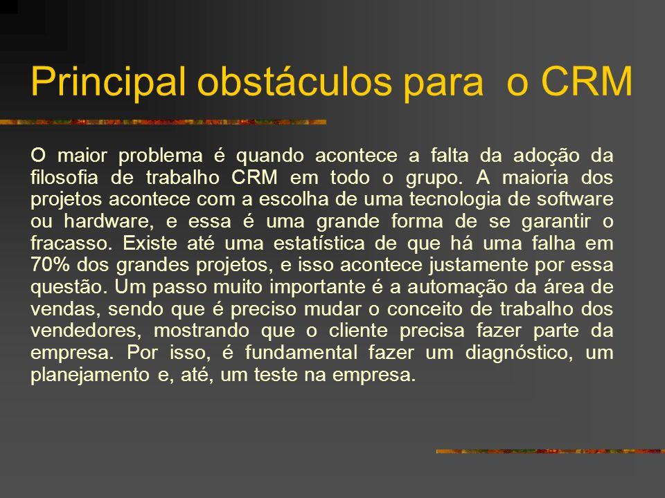 Principal obstáculos para o CRM