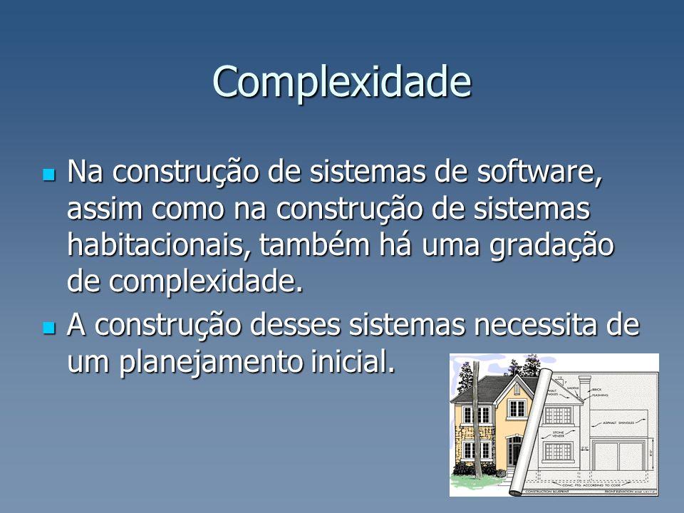 Complexidade Na construção de sistemas de software, assim como na construção de sistemas habitacionais, também há uma gradação de complexidade.