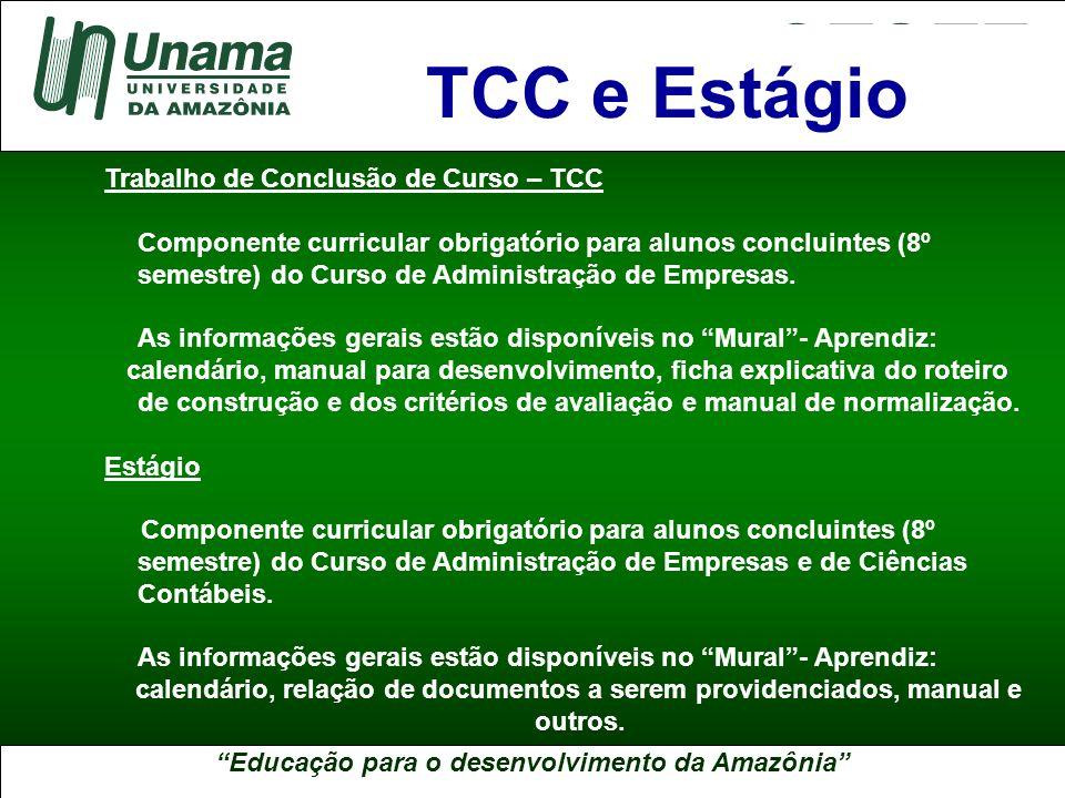 TCC e Estágio Trabalho de Conclusão de Curso – TCC