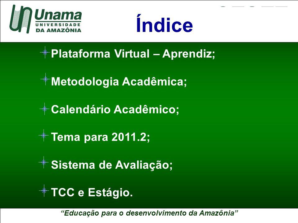 Índice Plataforma Virtual – Aprendiz; Metodologia Acadêmica;