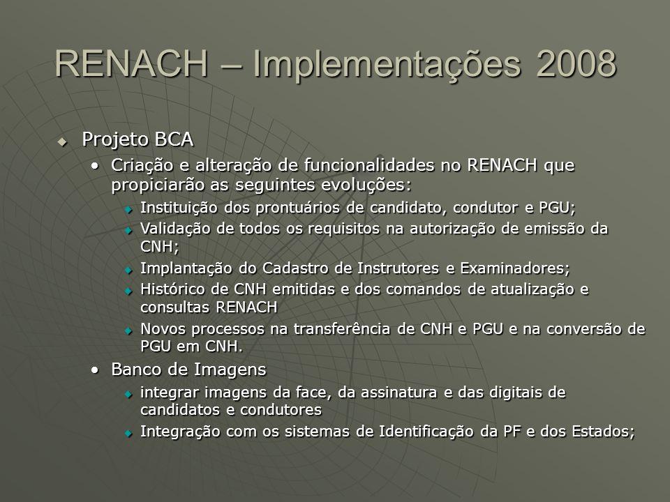 RENACH – Implementações 2008