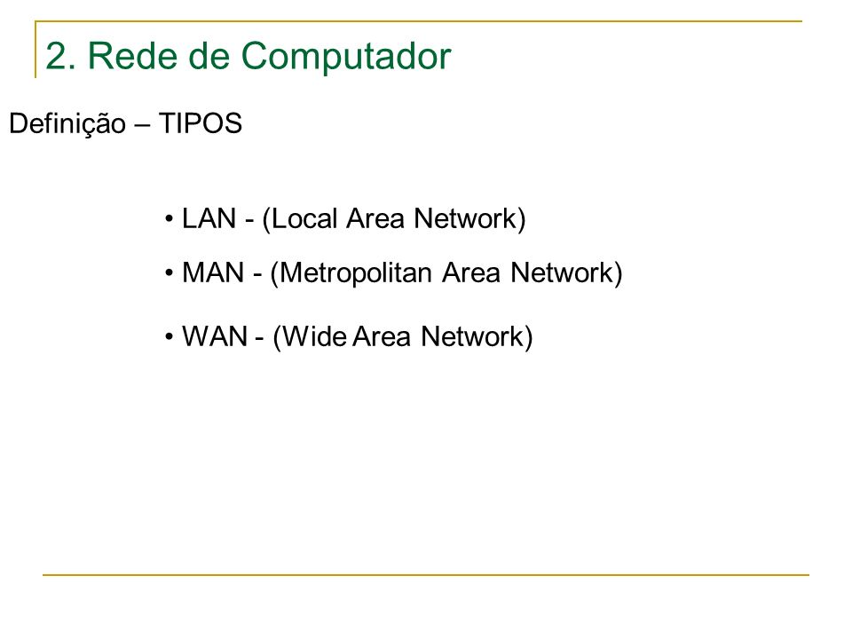 2. Rede de Computador Definição – TIPOS LAN - (Local Area Network)
