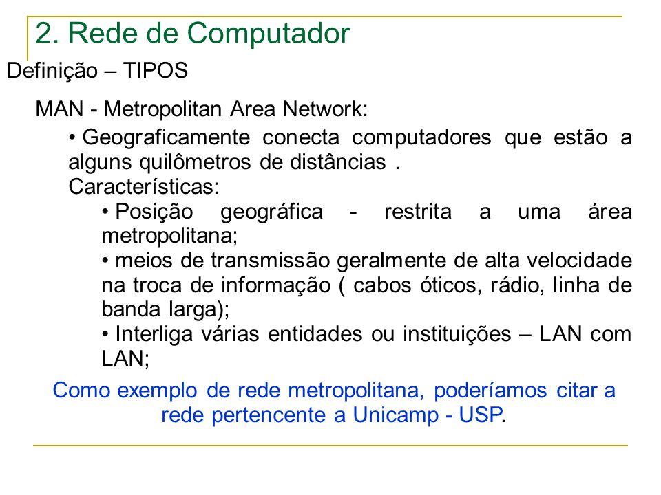 2. Rede de Computador Definição – TIPOS