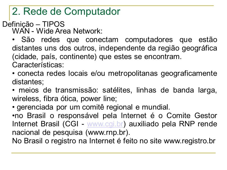 2. Rede de Computador Definição – TIPOS WAN - Wide Area Network: