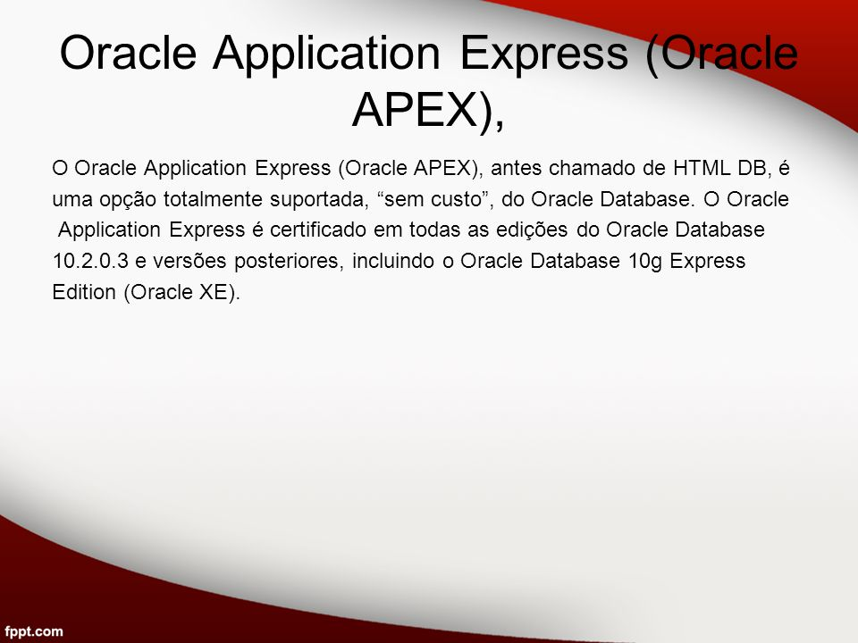 Oracle Application Express (Oracle APEX),