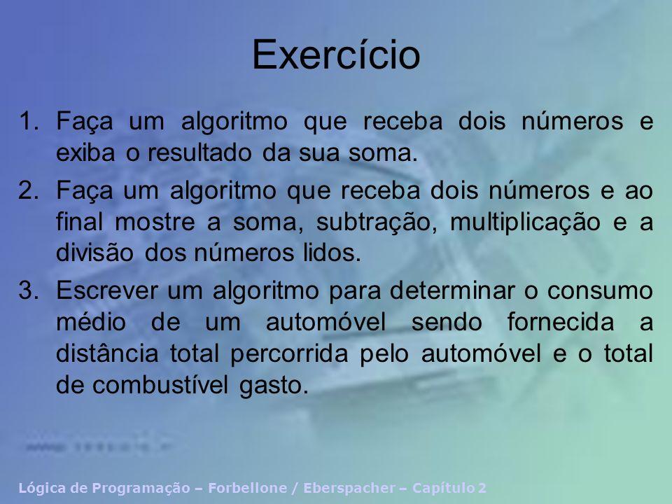 ExercícioFaça um algoritmo que receba dois números e exiba o resultado da sua soma.