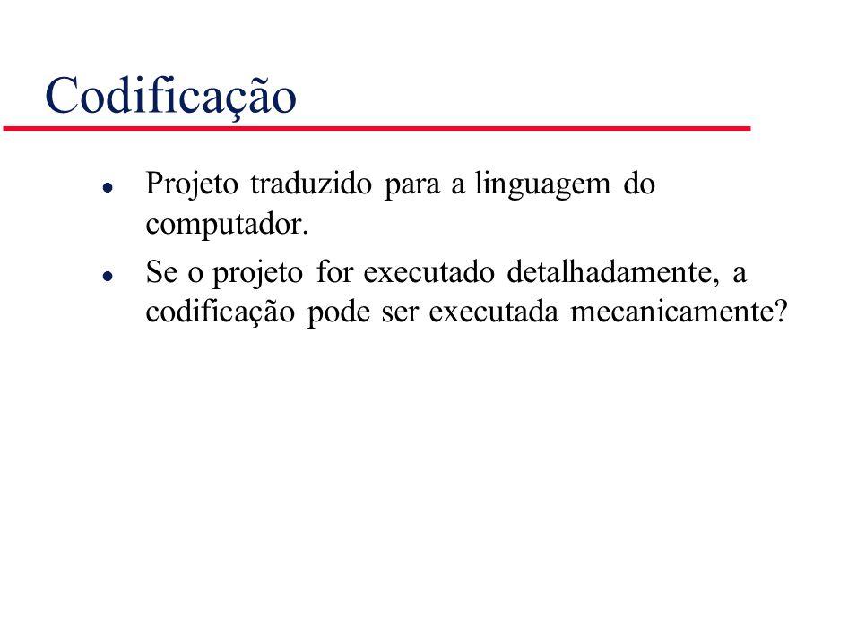Codificação Projeto traduzido para a linguagem do computador.