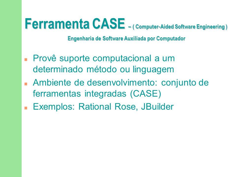 Ferramenta CASE – ( Computer-Aided Software Engineering ) Engenharia de Software Auxiliada por Computador