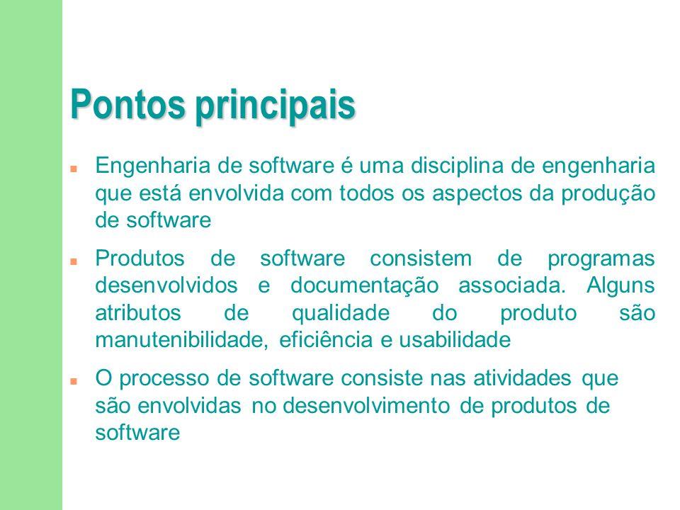 Pontos principais Engenharia de software é uma disciplina de engenharia que está envolvida com todos os aspectos da produção de software.