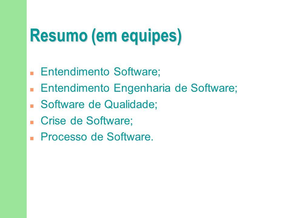 Resumo (em equipes) Entendimento Software;