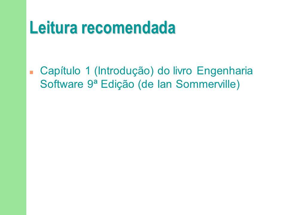 Leitura recomendada Capítulo 1 (Introdução) do livro Engenharia Software 9ª Edição (de Ian Sommerville)