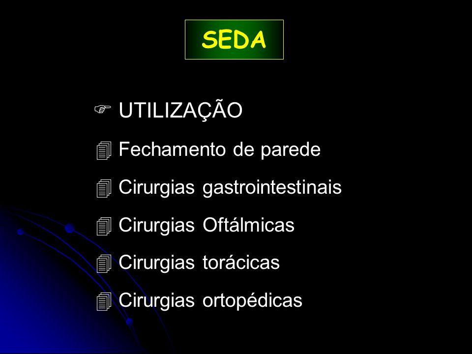 SEDA  UTILIZAÇÃO Fechamento de parede Cirurgias gastrointestinais