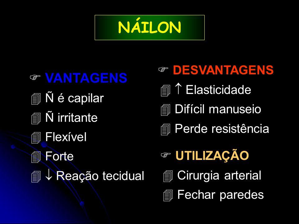 NÁILON  VANTAGENS  DESVANTAGENS  Elasticidade Ñ é capilar
