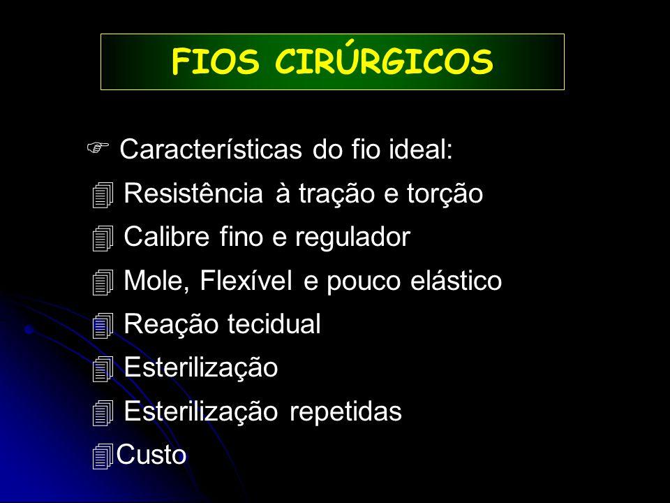 FIOS CIRÚRGICOS  Características do fio ideal: