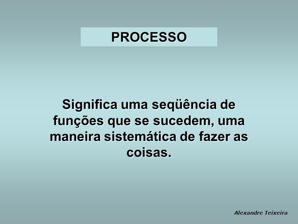 PROCESSO Significa uma seqüência de funções que se sucedem, uma maneira sistemática de fazer as coisas.